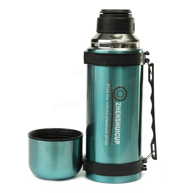 New Arrival 1.2L Large Outdoor Sport Camping Cycling Stainless Steel Travel Mug Thermoses Vacuum Flask Water Bottle With Cup(China (Mainland))