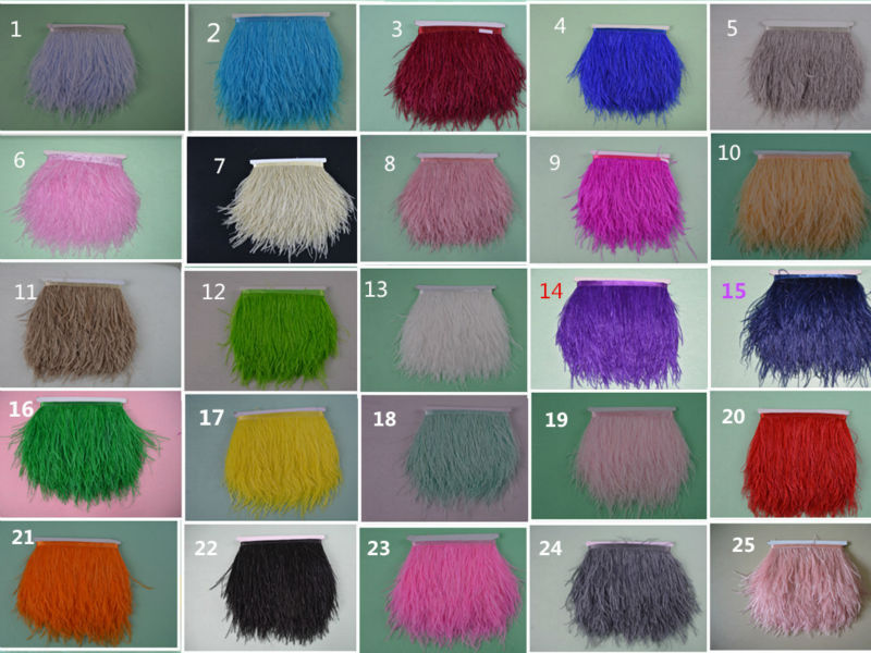 "Wholesale, 10 meters long 4 - 6 inches ""10-15cm natural ostrich feathers, feather edge ribbon trim feather free shipping(China (Mainland))"