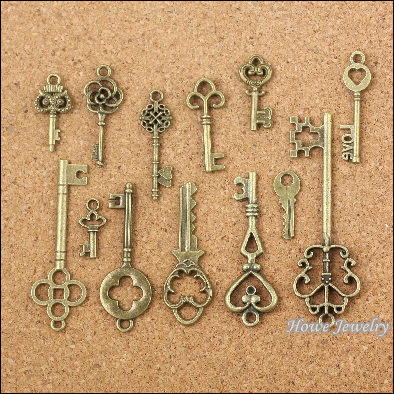 Wholesale 39 pcs Vintage Charms Mixed Keys Pendant Antique bronze Fit Bracelets Necklace DIY Metal Jewelry Making 10011(China (Mainland))