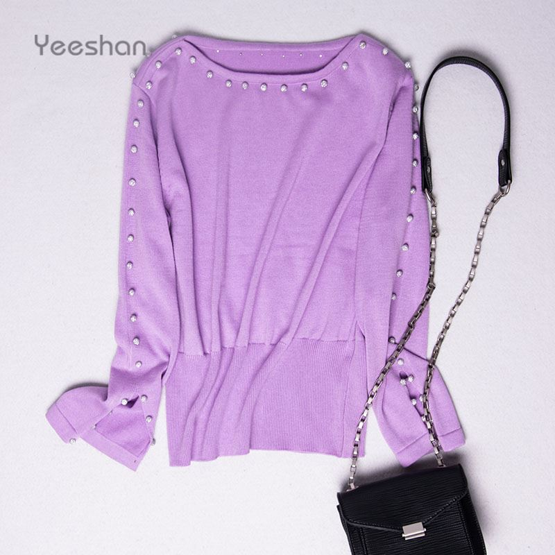Yeeshan Mink Cashmere Bead Sweater Women Purple Winter Sweaters and Pullovers Casual Elegant Autumn Sweaters Brand Fashion New(China (Mainland))