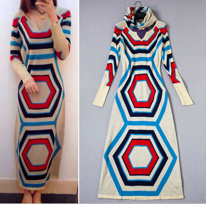 2014 New Autumn Winter Women's Ankle Length Wool Sweater Dress High Quality EuropeBig Size XL Geometric Print Maxi Sweater Dress(China (Mainland))