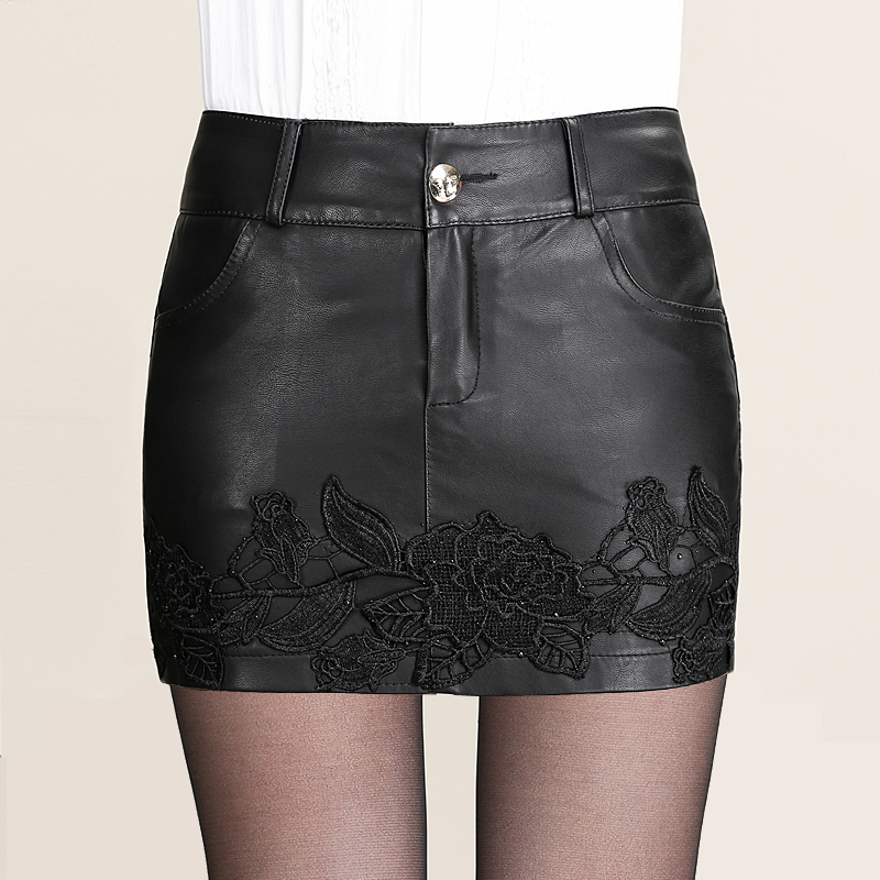 AAW 2015 new winter embroidery pu leather shorts plus size leather shorts culottes female shorts(China (Mainland))