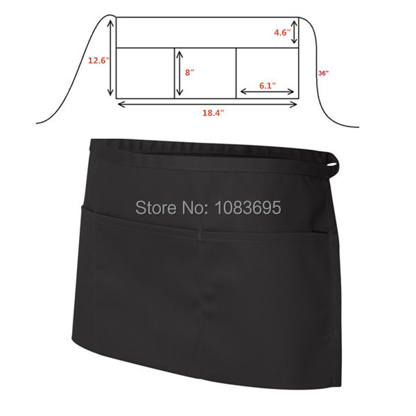 1 pcs 3 pockets delantal cocina Waiter waitress half apron restaurant bar kitchen waist apron black apron sleeveless(China (Mainland))
