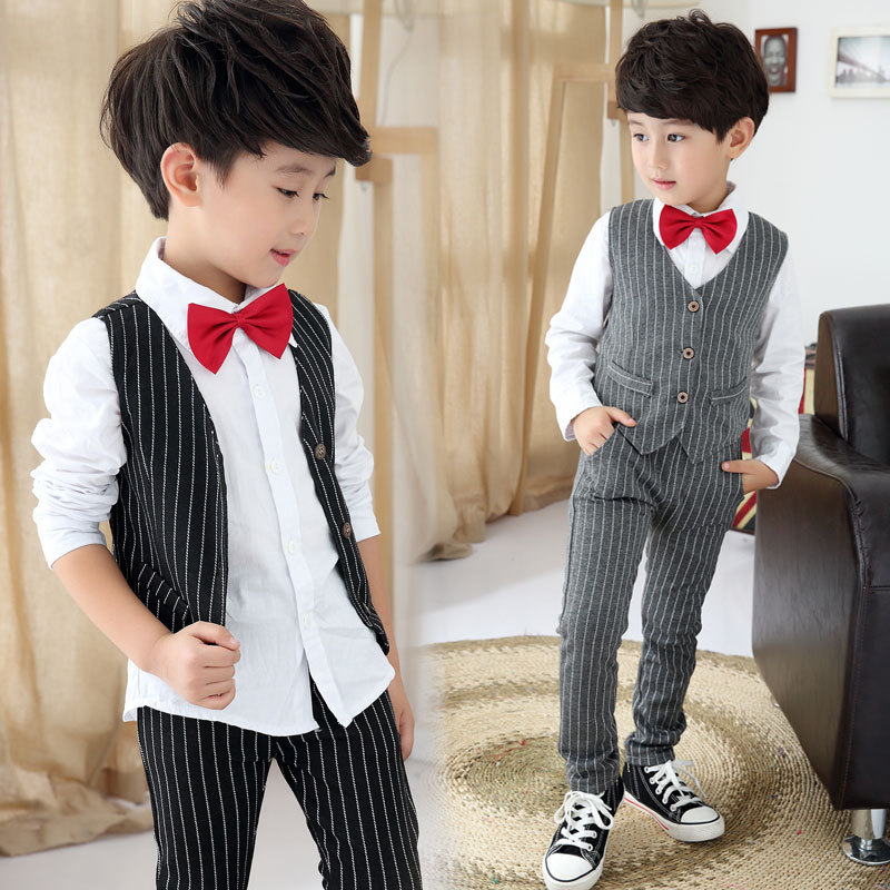 Juinor boys clothing sets boys striped vest pant shirt for Boys dress clothes wedding
