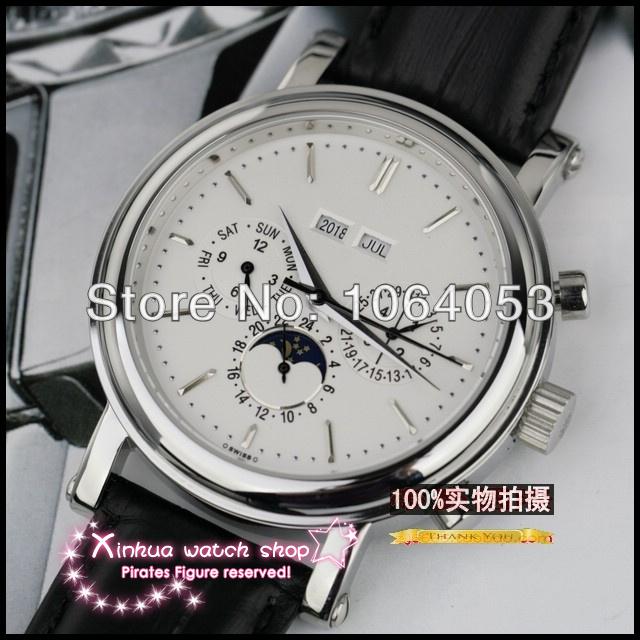 2014 new luxury moon phase dual calendar automatic mechanical multifunction sapphire belt large dial men's watch Swiss brand(China (Mainland))