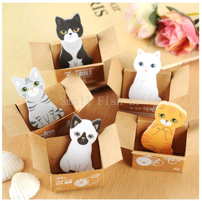 5pcs/lot Funny Kitty House Sticker Post It Bookmark Mark Tab Sticky Notes Cute Cat Memo pads Stationery Office School Supplies(China (Mainland))