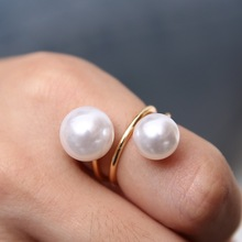 Fashion ring jewelry two big imitation pearl rings gold plated ring rings for women free shipping(China (Mainland))