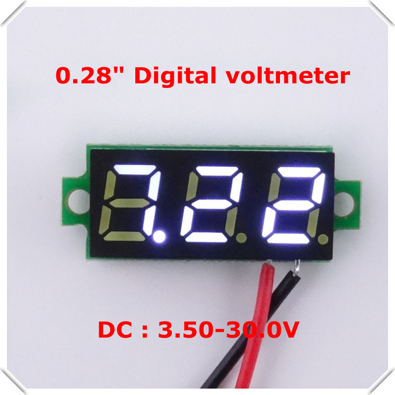 RD New 0.28 inch Mini Digital Voltmeter dc 3.50-30V 2 wires Vehicles Motor Voltage Panel Meter led Display Color: white 1/ lot - official store