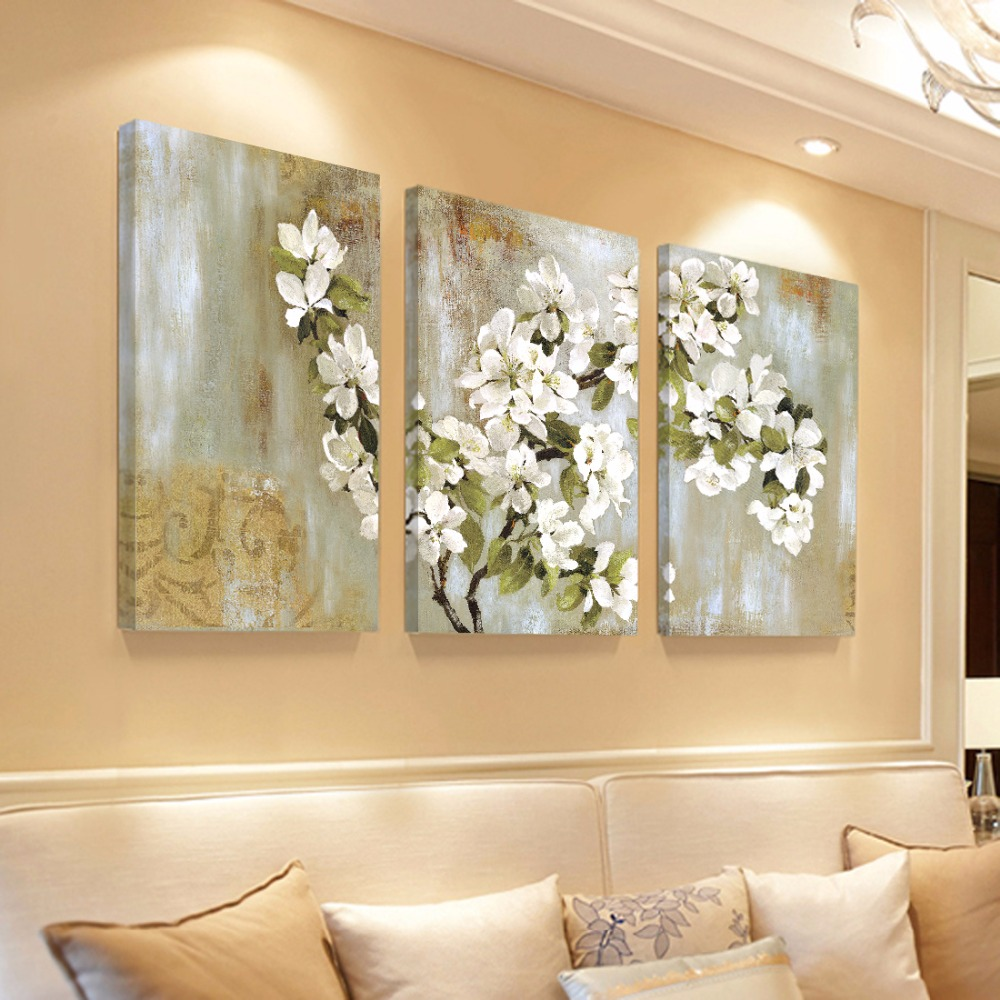 Interior Decor Wall Paintings : Home decor wall painting flower canvas cuadros