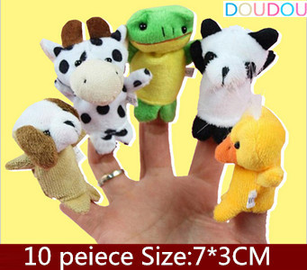 10 pcs/lot Creative finger puppets fairy tales Hand Puppets For Kids Baby Plush Toy Talking Props(China (Mainland))