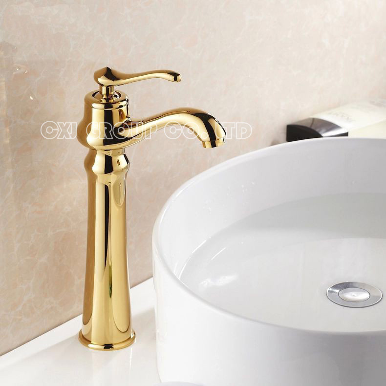 Фотография Free Shipping Solid Brass Gold plated Bathroom Sink Faucet Water Tap Single Hole Tap For Bathroom torneira para banheiro