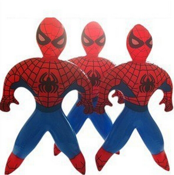 Novelty Spider-Man Superman Spider Man PVC Inflatable cartoon toys children games Kids birthday gifts, air-filled Height 35cm(China (Mainland))