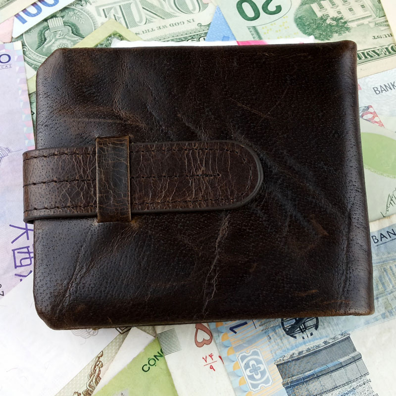 Vintage Designer Famous Brand 100 Genuine Cowhide Oil Wax Leather Men Short Bifold Wallet Wallets Purse
