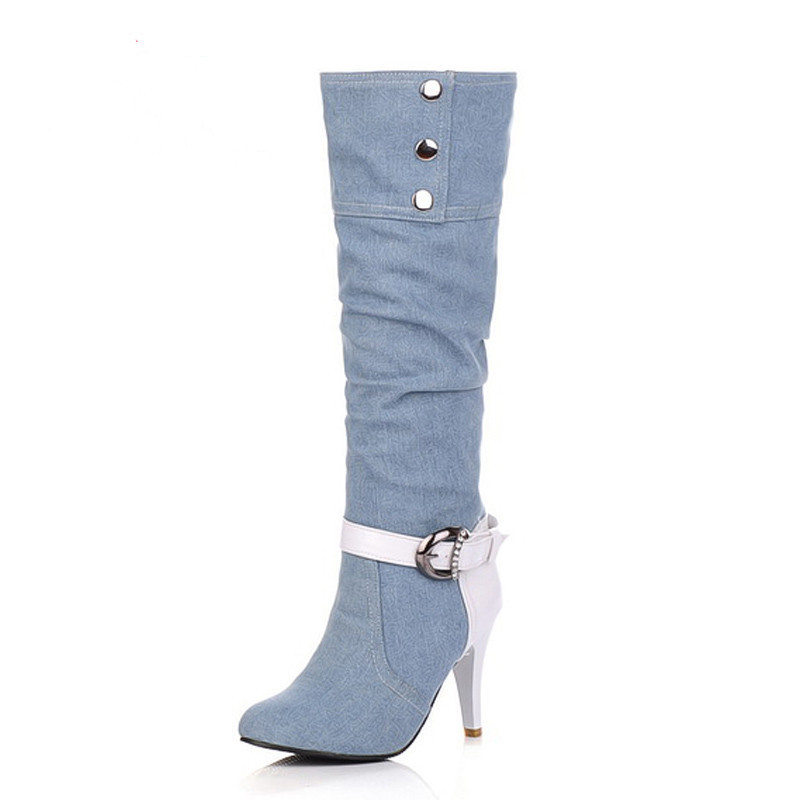 Denim Cloth Knight Boots High-Heeled 9.5cm Cowboy Boots Western Plus Size 43 Round Toe Buckle Boots For Women Y004(China (Mainland))