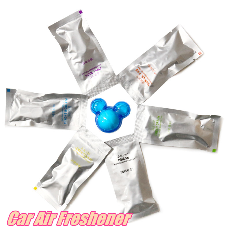 Replenishment Car Perfumes Air Conditioner Car Air Freshener fragrances Ocean/lemon/poison 12 bags 24piecs(China (Mainland))