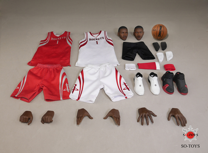 T-005 1/6 Scale Houston Rockets Tracy McGrady Head Sculpts and Basketball Clothes in White/Red & Shoes Model Accessory(China (Mainland))