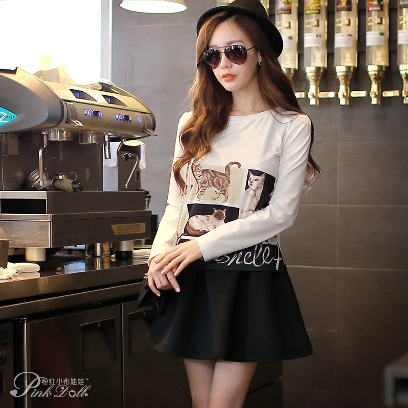 Female Baby Doll Pink T-Shirt in the spring of 2016 New South Korea women short white long sleeved shirt printed backing