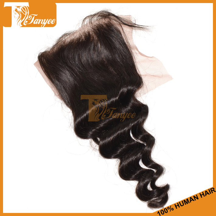 6A Unprocessed Remy Human Hair Brazilian Virgin Hair Loose Wave Lace Or Silk Base Closure Bleached Knots 4X4 Free Middle 3 Part(China (Mainland))
