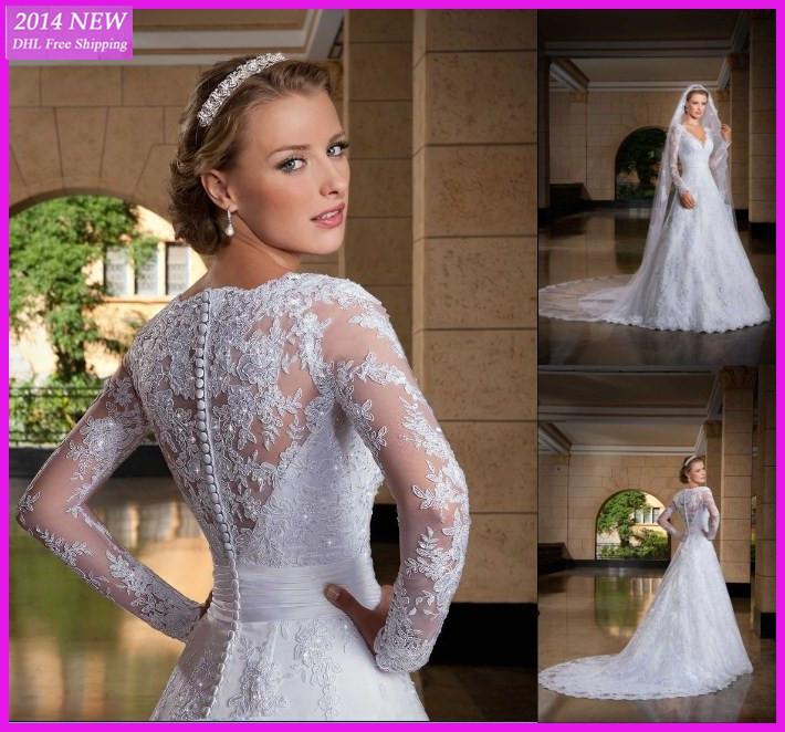 DY-303 Lace Appliques V Neckline Long Sleeves A-line Elegant Fashionable Wedding Dresses Bridal Gowns Vestido de noiva 2015(China (Mainland))