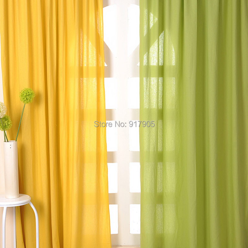 2014 New Fashion Summer Green Curtains For Living RoomElegant Yellow