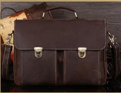 Free Shipping Mens Genuine Leather Vintage Style Messenger Shoulder