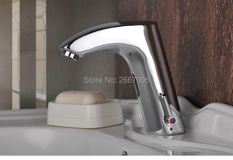 GIZERO Free Shipping Chrome Hot & Cold Mixer Water Saving Brass Automatic Touch free Sensor Faucet for Hotel & Hospital ZR8065