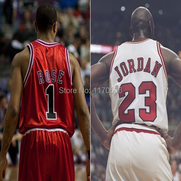 Free Shipping 2014 Chicago Kids Boys Children #23 Michael Jordan #1 Rose basketball jersey and shorts sets red white black color(China (Mainland))