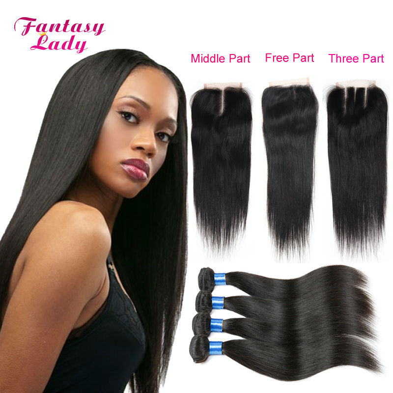 Brazilian Hair Weave Bundles 4 Bundles with Closure Cheap Brazilian Straight Cexxy Hair with Lace Closure Free Middle Three Part