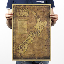 Buy 51*35.5cm Poster Vintage Home Decor New Zealand Mysterious Old Map Retro Poster Kraft Paper Wall Sticker for $4.19 in AliExpress store