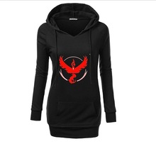 2016 New S-4XL Fashion Pokemon Go Gaming Print Full Sleeves Autumn Woman Hoodie V-Neck Slim Comfor Casual Hoodie NHD0006RE1
