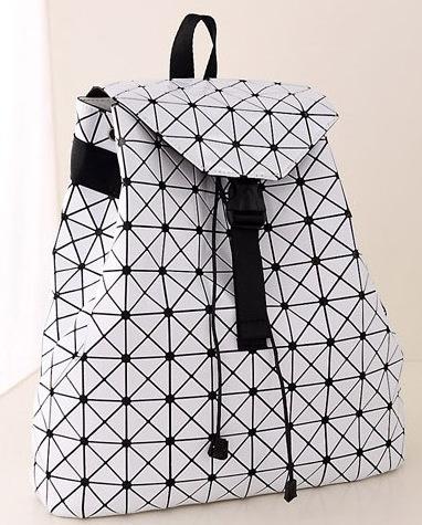 Рюкзак стереоскопический ромб дизайн чехол мешок зерна новый лакированной кожи с тиснением сумки, Мужская и женская общее личность волна