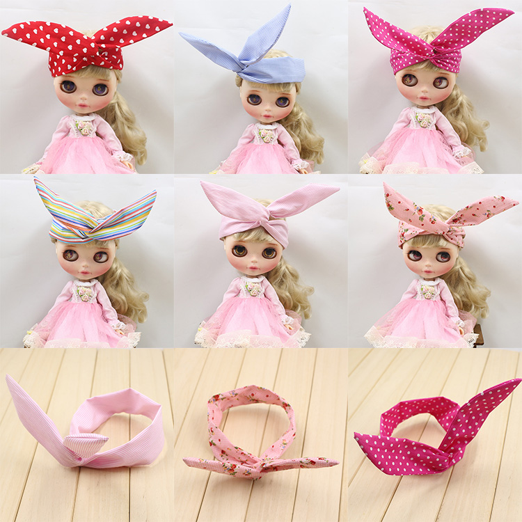Mixed color 10 pcs / bag Blyth Doll Hair accessories head hoop (suitable for blyth ), rabbit head band(China (Mainland))