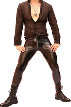 Men Super Sexy Faux Leather Pants Tights Slim Fit Trousers Zip Crotch Elastic Night Club(China (Mainland))