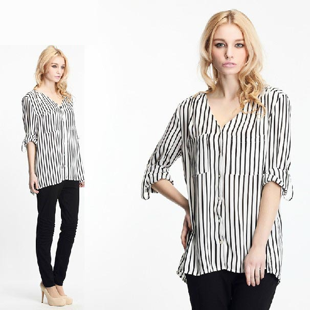 Black and white stripe 2014 v neck women 39 s long sleeve for Black and white striped long sleeve shirt women