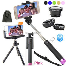 Camera Photo Kits:3 in 1 Clip Lens+Mount Tripod+Original Self Tripod Monopod For Samsung Galaxy S6 S6 EAGE + S5/For Sony Xperia