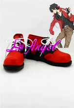 Anime MekakuCity Actors/Kagerou Project Kisaragi Shintaro Cosplay Shoes Red Boots Customized Size(China (Mainland))