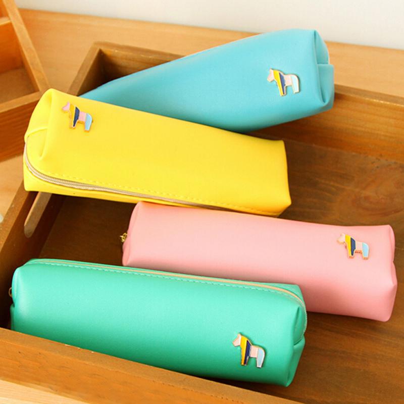 New High Quality PU Pencil Bag Cute High-capacity Zipper Pencil Case Writing Supplies Office School Supplies Fashion Gifts(China (Mainland))