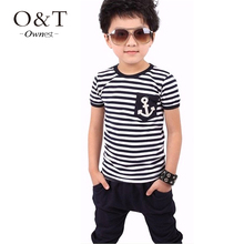 New 2015 summer style clothing sets kids pants Top boys girls Stripe and plaid clothes children