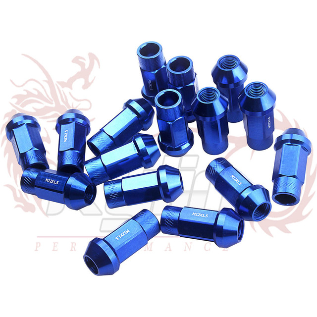 KYLIN - High Quality Auto Racing  Aluminum 7075 wheel lug nuts Length:50MM P:12x1.5 / 12x1.25 Purple blue red silver