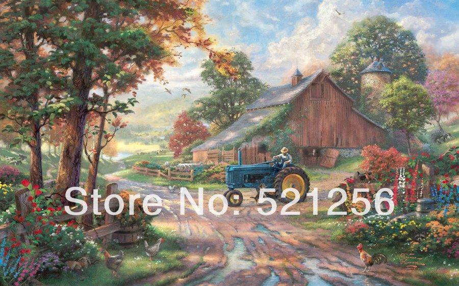 BLATK09 Free shipping HD Thomas Kinkade canvas prints modern wall art home decoration oil painting Harvest Season(China (Mainland))