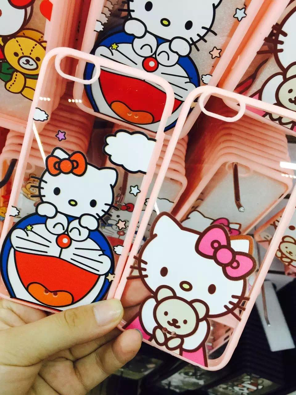 2015 Hello Kitty TPU+PC soft Pink Frame back cover case iphone 5s 6&6 plus strap 5DHL