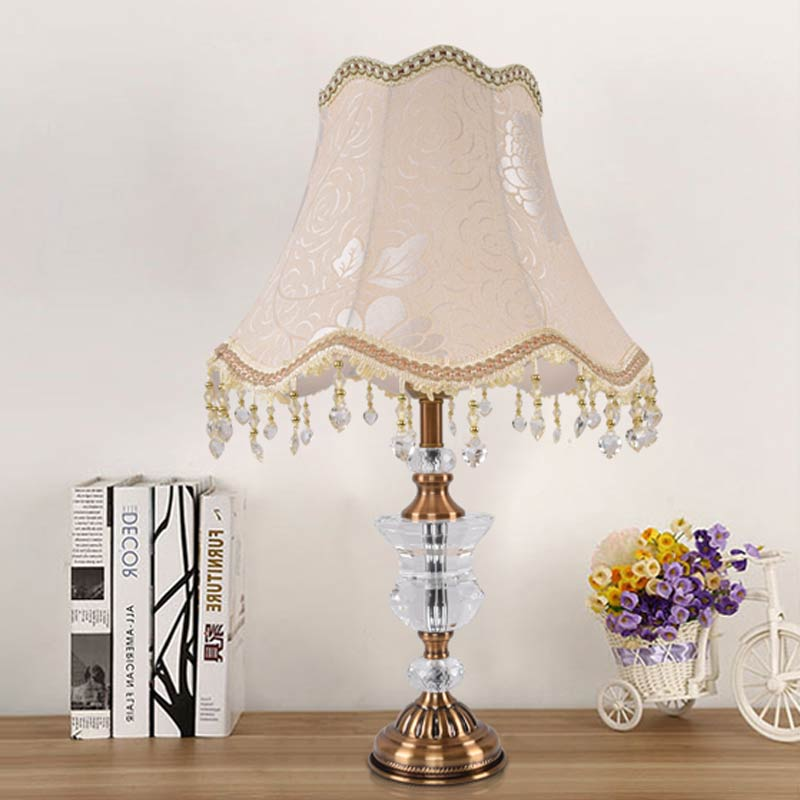 Фотография Retro Crystal Table Lamp Shade Fabric Modern Office Living Room Bedroom Bedside Table Lights Lighting Brused Antique Brass Iron