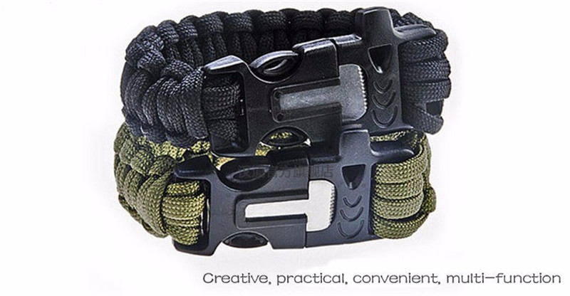 Free ship Multi-functional life preserver first aid wild bracelet safety rope life-saving escape outdoor survival camping rope(China (Mainland))