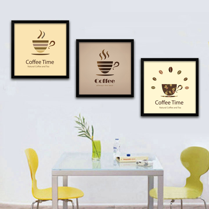 coffee time picture Modern letter canvas painting for retro kitchen restaurant wall art decoration framed mirror free shipping(China (Mainland))