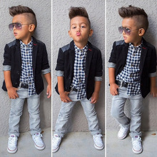 Boys Fashion Clothing children's suits handsome black jacket plaid shirt + jeans + three-piece suit