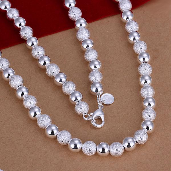 Promotion price Fashion Jewelry silver plated gilr 8mm Beads chain Necklace Wholesale silver plated Jewelry Christmas