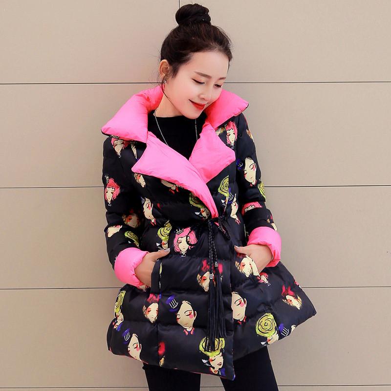 Winter new women's cotton Padded coat long warm jacket printing cloak wadded jacket winter parka for women overcoat TT315