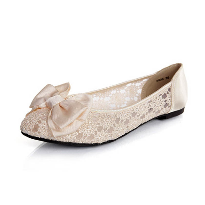 Women Ballerinas Fashion Bow Pointed Toe Slip-on Women Flats Ladies Casual Breathable Lace Ballet Flats Women Flat Wedding Shoes(China (Mainland))