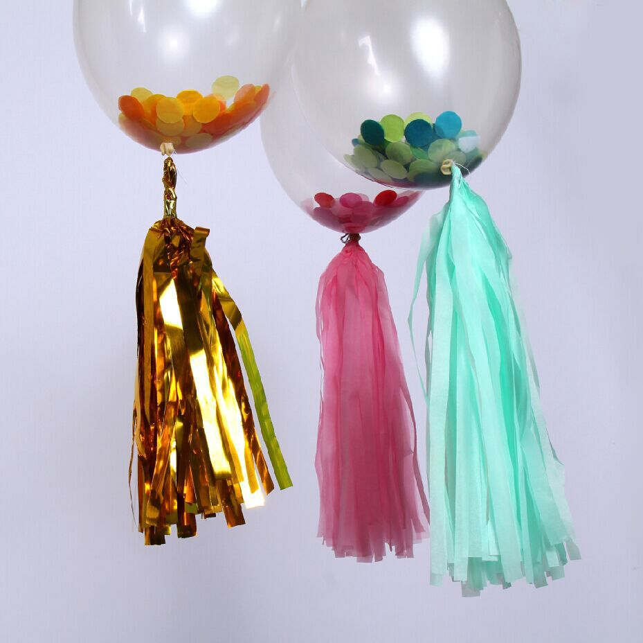 12 sets Clear Balloon+Confetti +Tissue Paper tassel - Birthday, Photo Prop, Bridal Shower, Baby Shower, Wedding Balloons,(China (Mainland))