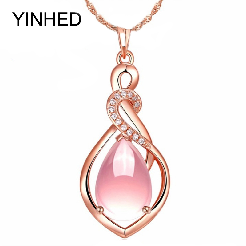 2015 New Trendy Luxury 18K Rose Gold Plated Wedding Jewelry Sparkling 3.9ct Natural Pink Quartz Pendant Necklace for Women ZNF01(China (Mainland))